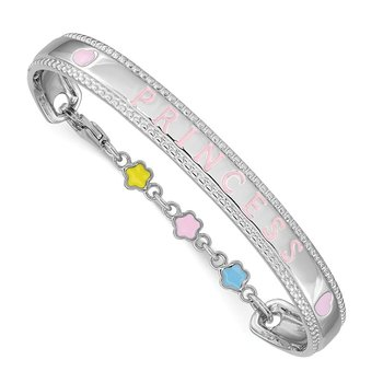 Sterling Silver Rhodium-plated Enamel PRINCESS w/Chain Baby Bangle