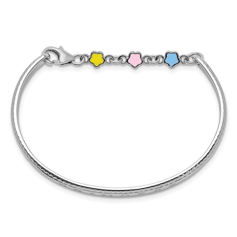 Quality Gold Sterling Silver Rhodium-plated Enamel PRINCESS w/Chain Baby Bangle
