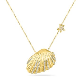 14KY SEASHELL NECKLACE 25MM X19MM  WITH 73 DIAMONDS 0.32CT 18 INCHES LENGHT