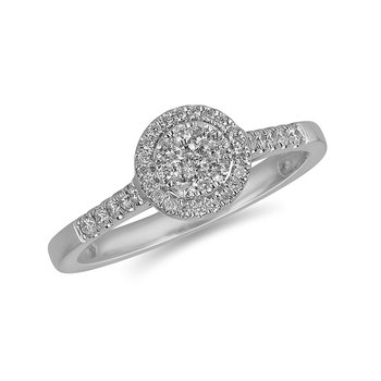 14K WG and diamond Round Halo composite head and diamond on shank ring in pressure setting