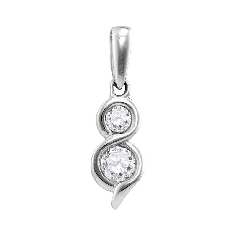 Kingdom Treasures 14kt White Gold Womens Round Diamond 2-stone Hearts Together Pendant 5/8 Cttw