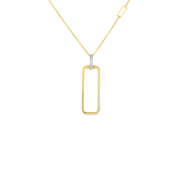 #28003 Of 18K Rectangular Pendant W. Dia Bale On Chain