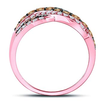 14kt Rose Gold Womens Round Brown Diamond Crossover Band Ring 1-3/8 Cttw