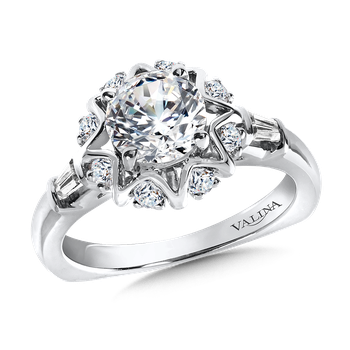 Halo Engagement Ring Mounting in 14K White Gold (.31 ct. tw.)