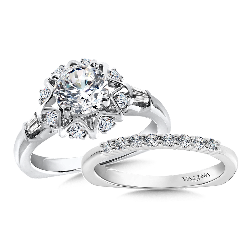 Valina Halo Engagement Ring Mounting in 14K White Gold (.31 ct. tw.)