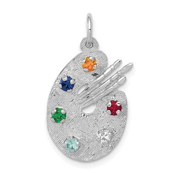 14k White Gold Artist Palette with CZ Stones Charm