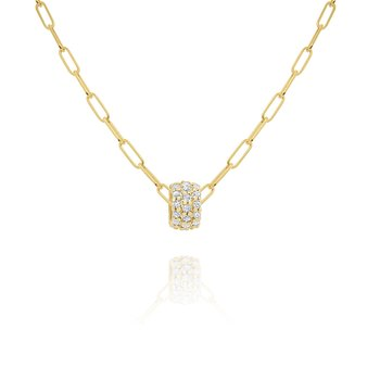 "14k Gold and Diamond Rondel on 18"" Paperclip Chain"