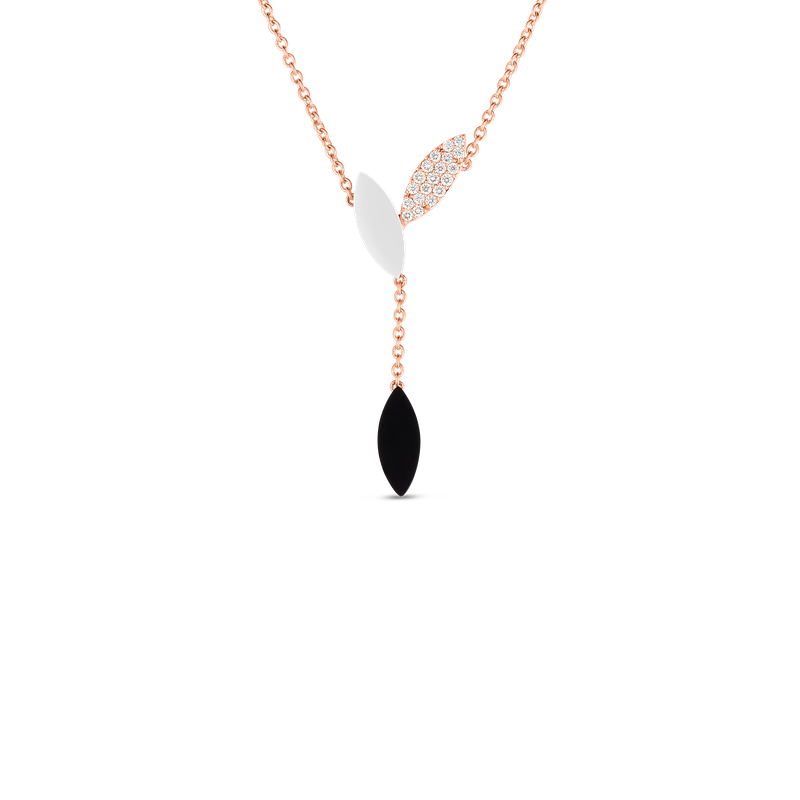 Roberto Coin 18Kt Gold Petal Pendant With Diamonds, Mother Of Pearl And Black Jade