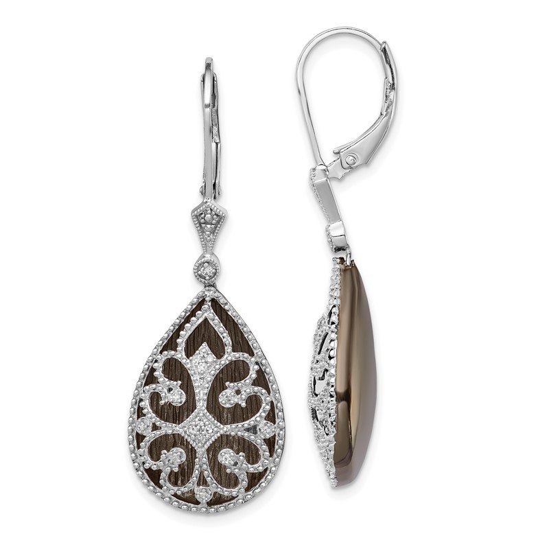 Quality Gold Sterling Silver Rhodium Diamond Filigree Teardrop Leverback Earrings