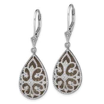Sterling Silver Rhodium Diamond Filigree Teardrop Leverback Earrings