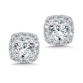 Diamond Cushion Halo Studs in14K White Gold with Platinum Post (5/8ct. tw.)
