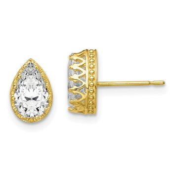 10k Tiara Collection 9mm Polished Pear CZ Earrings