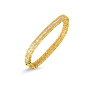 18KT GOLD NARROW BANGLE WITH DIAMONDS