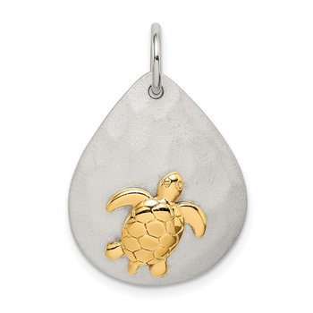 Sterling Silver Gold-Tone Turtle Brushed Pendant