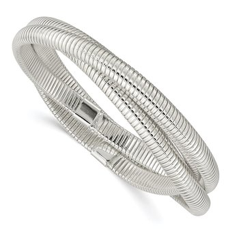 Sterling Silver Slip-on 6mm Flexible 3-Intertwined Cubetto Bangle