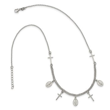 Sterling Silver Cross & Mary Charm with 1.25in .ext Necklace