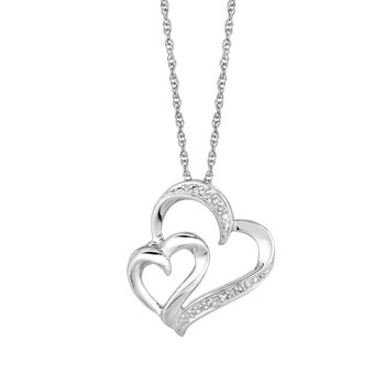 Silver Diamond .03ct Hearts Necklace