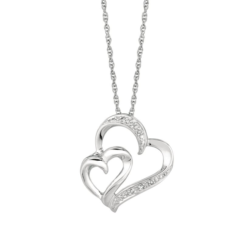 Royal Chain Silver Diamond .03ct Hearts Necklace