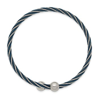 Stainless Steel Polished Blue IP-plated 3.00mm Flexible Bangle
