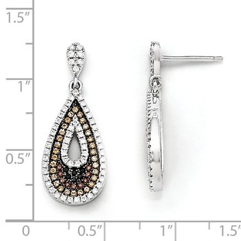 Sterling Silver & CZ Brilliant Embers Teardrop Dangle Post Earrings