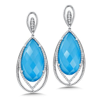 Colore Oro Turquoise Fusion Diamond Earrings In 14k White Gold