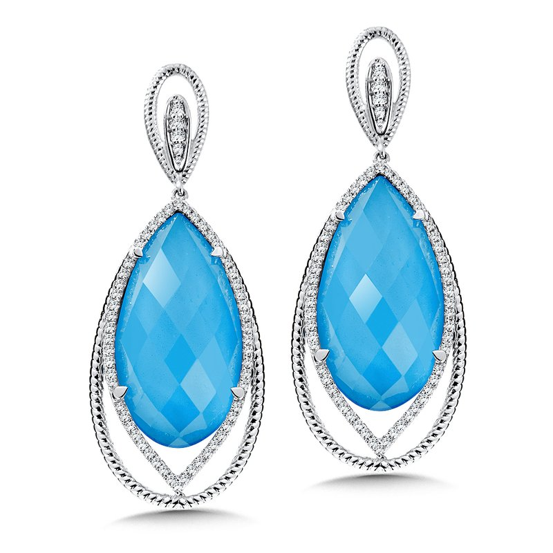 Colore Oro Turquoise Fusion & Diamond Earrings in 14K White Gold