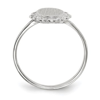 14k White Gold 13.0x6.5mm Open Back Signet Ring