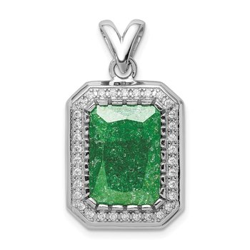 Sterling Silver Rhodium-plated 12x14 Green Ice CZ Pendant