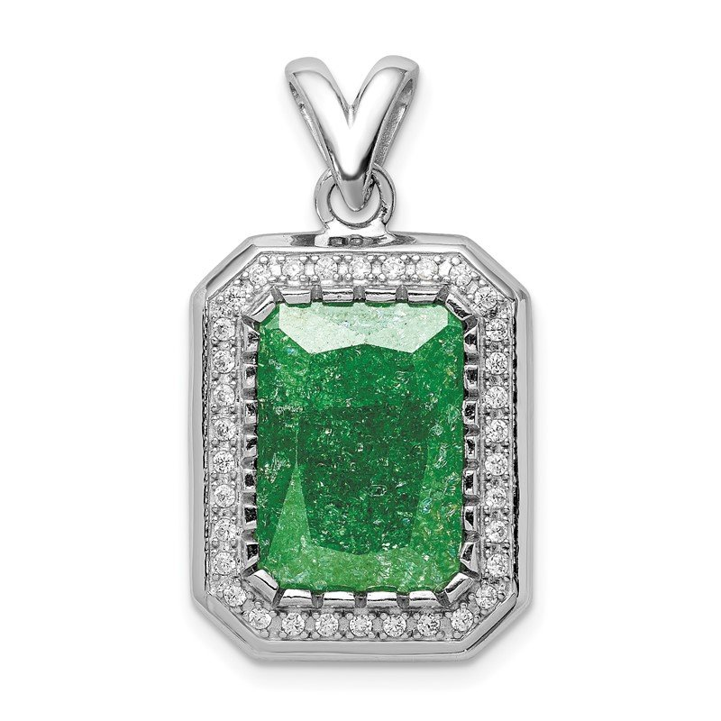 Quality Gold Sterling Silver Rhodium-plated 12x14 Green Ice CZ Pendant