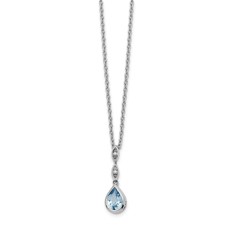 Quality Gold SS White Ice Blue Topaz and .01 ct Diamond Necklace