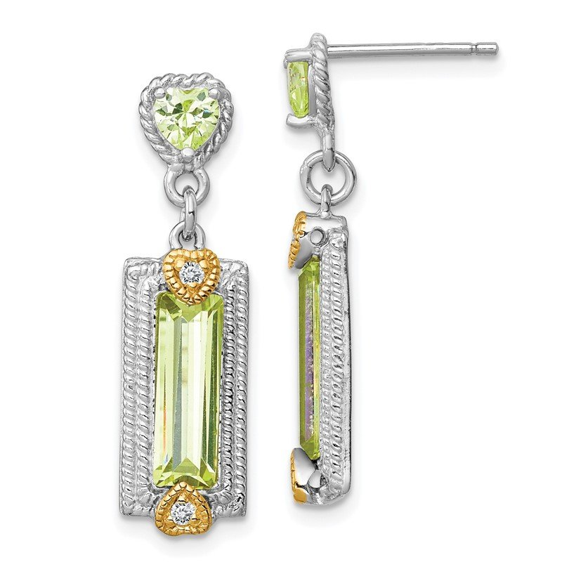 Quality Gold Sterling Silver Vermeil Light Green CZ Post Earrings