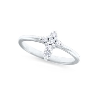 14K Diamond Mini Cross Ring