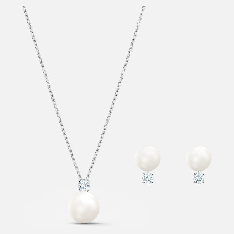 Swarovski Treasure Pearl Set, White, Rhodium plated