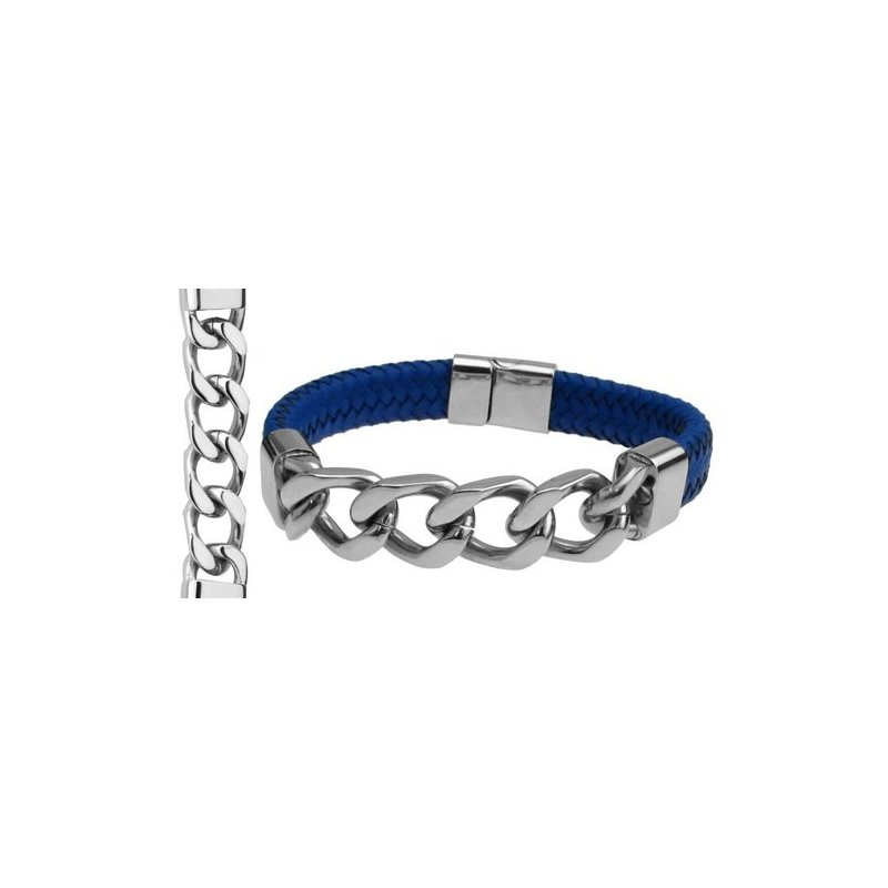 LARUS Jewelry Steel and Leather Link Bracelet