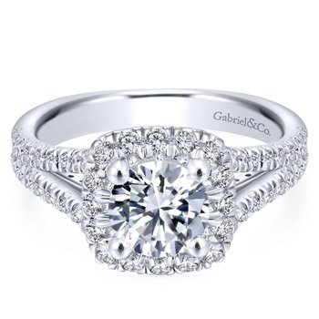 Split Shank & Halo Engagement Ring