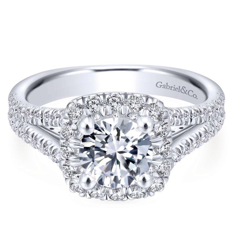 Gabriel Bridal 14k White Gold Round Halo Diamond Engagement Ring Thollot Diamonds Fine Jewelry