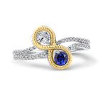 Essentials 10K White & Yellow Gold 1/5 Ct Diamond with 1/2 Ct White & Blue Sapphire Fashion Ring