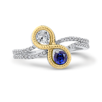 10K White & Yellow Gold 1/5 Ct Diamond with 1/2 Ct White & Blue Sapphire Fashion Ring