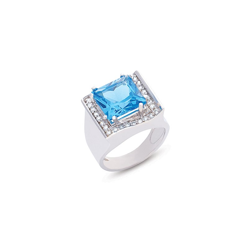 S. Kashi  & Sons Blue Topaz.& Diamond Ring