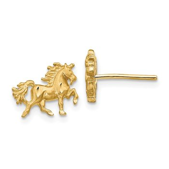 14k Satin Diamond-cut Unicorn Post Earrings