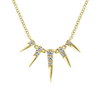 14K Yellow Gold Edgy Diamond Necklace
