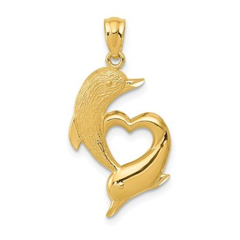 14K D/C Satin and Polished Dolphins Heart Pendant