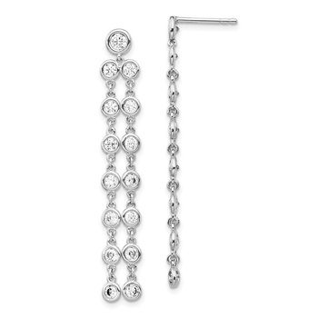 Sterling Silver CZ Circle Dangle Post Earrings