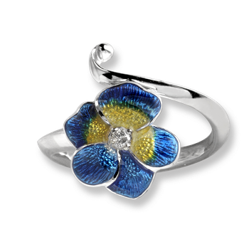 Sterling Silver Pansy Ring-Blue. Diamonds.