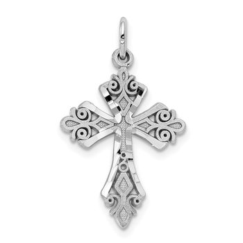 10K White Gold Diamond-Cut Cross Charm