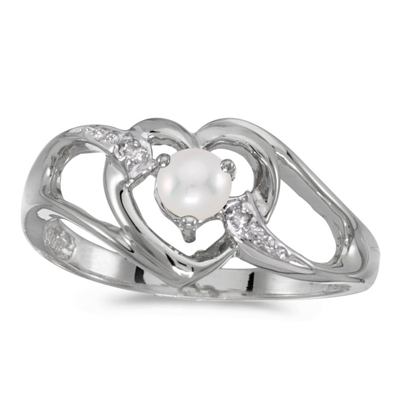 Color Merchants 10k White Gold Freshwater Cultured Pearl And Diamond Heart Ring