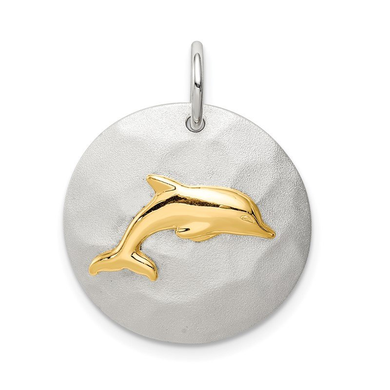 Quality Gold Sterling Silver Gold-Tone Dolphin Brushed Pendant