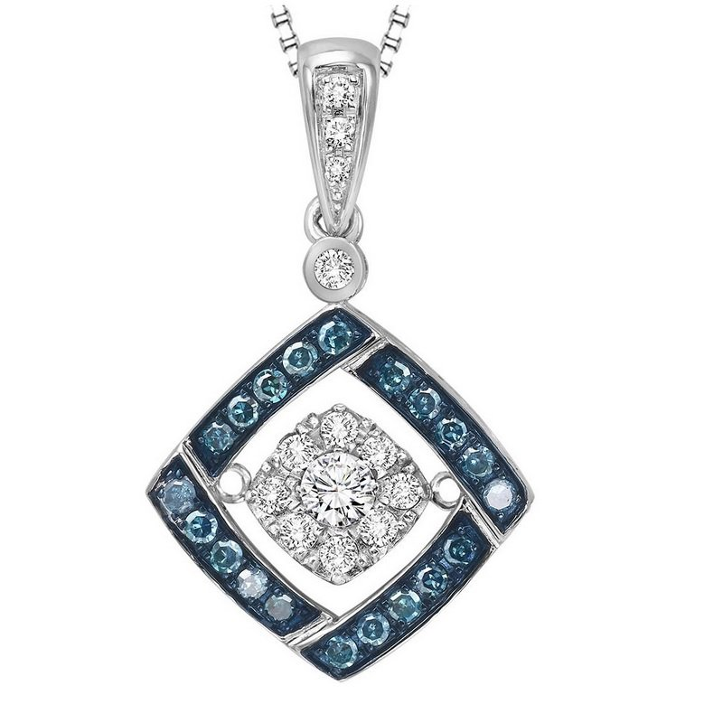 Rhythm of Love Silver Blue & White Rhythm Of Love Pendant 1/3 ctw