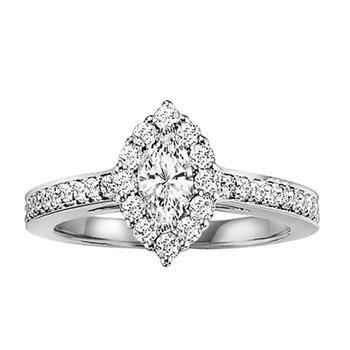 14K Diamond Engagement Ring 3/8 ctw with 1/3 ct Mq Center