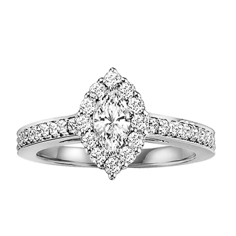 Bridal Bells 14K Diamond Engagement Ring 3/8 ctw with 1/3 ct Mq Center